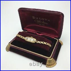 Vintage Art Deco Ladies Diamond Watch in Original Box Looks Mint Doesn't Run 3AN