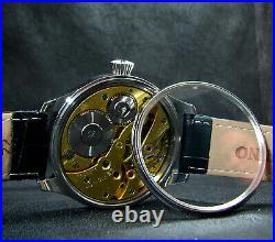 Vintage Art Deco Marriage Large Steel Case Watch Chronometer with Longines movm