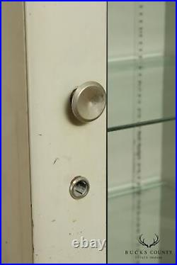 Vintage Art Deco Metal One Door Medical Display Cabinet