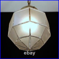 Vintage Art Deco Pendant Light Fixture Geometric Satin Glass Globe Porch Hall