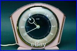 Vintage Art Deco Pink Bakelite Brass 1947-50 Metamec Mains Electric Alarm Clock