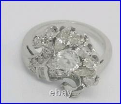 Vintage Art Deco Platinum 1.73 Ct Estate Diamonds Cocktail Buque Ring Size 6