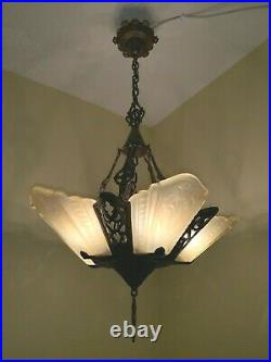 Vintage Art Deco Slip Shade Glass 5 Light Fixture Virden Chandelier