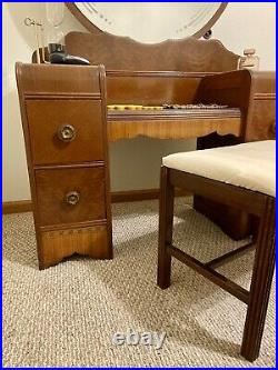 Vintage Art Deco Waterfall Vanity With Mirror And Bench