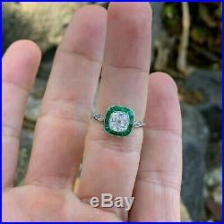 Vintage Art Deco platinum diamond & emerald engagement ring, diamond halo ring