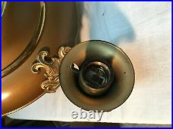 Vintage Brass 5 Arm Pan Style Hanging Chandelier Light Fixture Art Deco Working