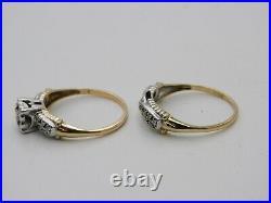 Vintage Diamond Engagement Ring. 25 tcw G-SI 14k YG Estate Wedding Set Art Deco