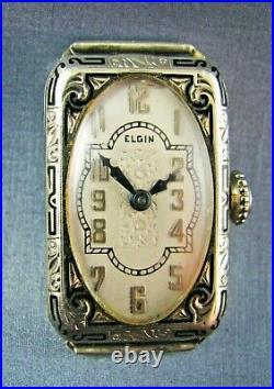 Vintage Elgin Art Deco Solid 18K White Gold 18/0 Ladies Dress Watch 1920s AS IS