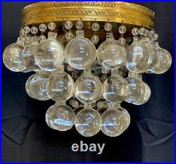 Vintage French Art Deco Brass Crystal Ball Wedding Cake Flush Mount Chandelier