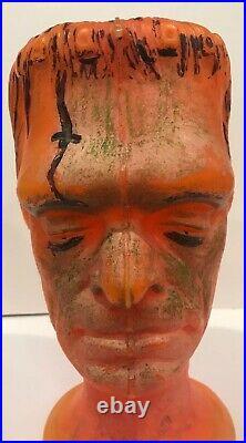 Vintage Halloween Plastic Blow Mold Glenn Strange Frankenstein Monster Bust Lamp