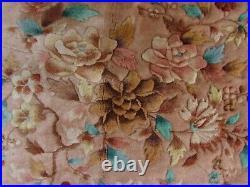 Vintage Hand Made Art Deco Chinese Oriental Beige Pink Wool Rug Carpet 345x305cm