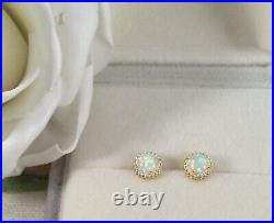 Vintage Jewellery Gold Opal Earrings Ear Rings with Opals Antique Deco Jewelry