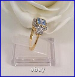 Vintage Jewellery Gold Ring Aquamarine White Sapphires Antique Deco Jewelry