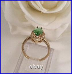 Vintage Jewellery Gold Ring Emerald White Sapphires Antique Deco Jewelry size 6