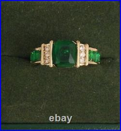 Vintage Jewellery Gold Ring Emerald and White Sapphires Antique Deco Jewelry O