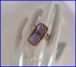Vintage Jewellery Gold Ring large Amethyst Antique Deco Jewelry small size 6