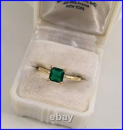 Vintage Jewellery Gold Ring with Emerald Antique Deco Jewelry small size L