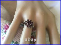 Vintage Jewellery Sterling Silver Multi Garnet Ring Antique Deco Jewelry sz 7 O