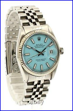 Vintage ROLEX Oyster Perpetual DateJust 36mm AQUA luminescent Dial Steel Watch