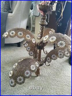 Vintage art deco palm frond chandelier 1960's