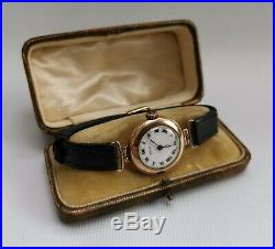 Vtg 1924 Rolex 7 Worlds Records Gold Medal Solid 9ct 9K Art Deco Watch & Case