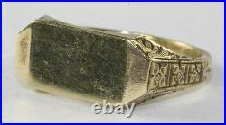 Vtg Antique 1920's Art Deco Mens 10k Gold Signet Ring Size 9.75