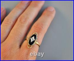 Vtg Antique Art Deco 10k Solid Gold Black Onyx & Natural Diamond Ring Filigree