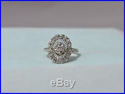 Vtg Art Deco Natural Diamond Ring 14k Solid White Gold Diamond Halo Rays 8.5
