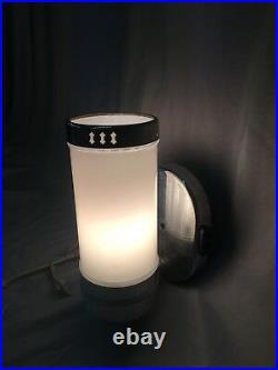Vtg Chrome Brass Sconce Pair Cylinder Milk Glass Shade Art Deco Light 147-18J