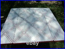 Vtg Country Farm House Porcelain Enamel Kitchen Metal Table Chippy Crysteel