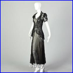 XS 1930s Black Dress Matching Jacket Sheer Silk Chiffon Lace Bias Gown 30s VTG