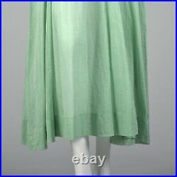 XS 1930s Sheer Green Cotton Dress White Swiss Dots Spring Summer Art Deco 30s